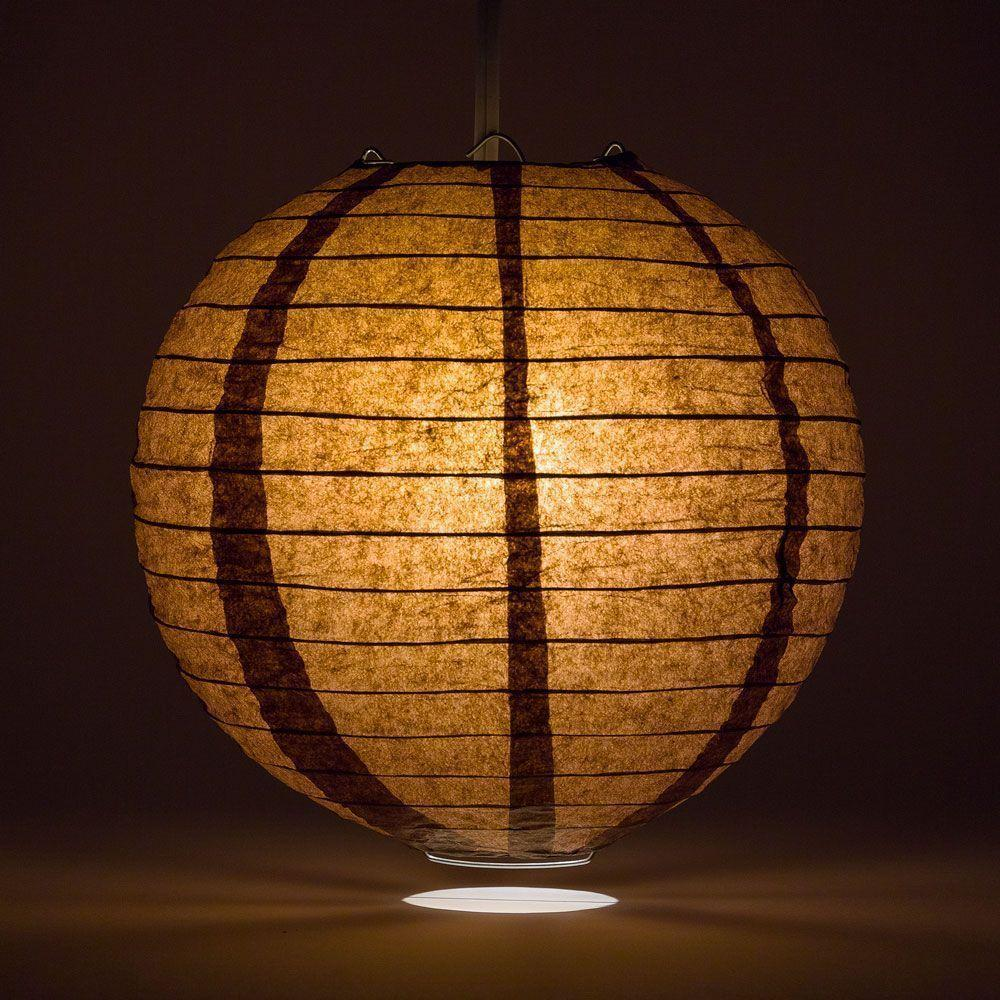 "12"" Brown Round Paper Lantern, Even Ribbing, Chinese Hanging Wedding & Party Decoration - AsianImportStore.com - B2B Wholesale Lighting and Decor"