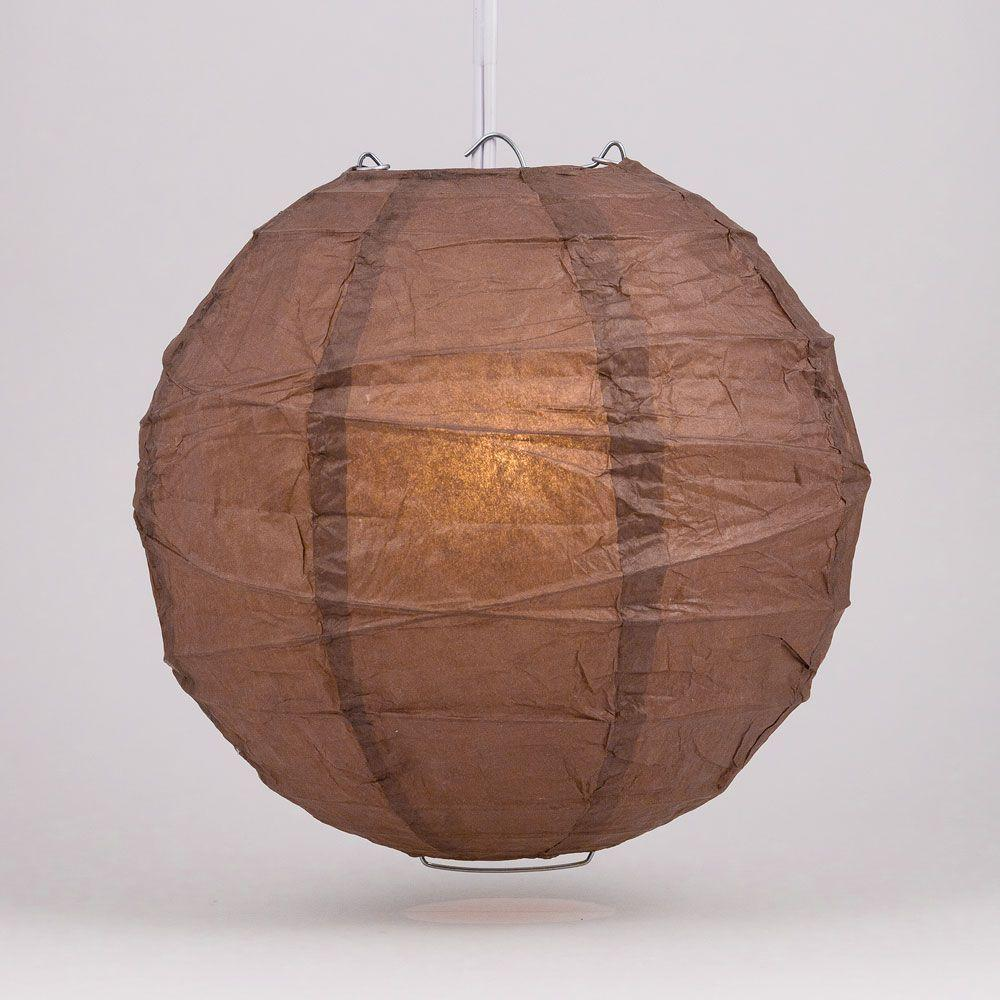"10"" Brown Round Paper Lantern, Crisscross Ribbing, Chinese Hanging Wedding & Party Decoration"