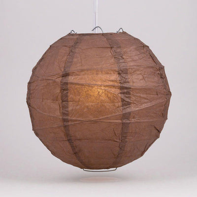 "16"" Brown Round Paper Lantern, Crisscross Ribbing, Chinese Hanging Wedding & Party Decoration - AsianImportStore.com - B2B Wholesale Lighting and Decor"