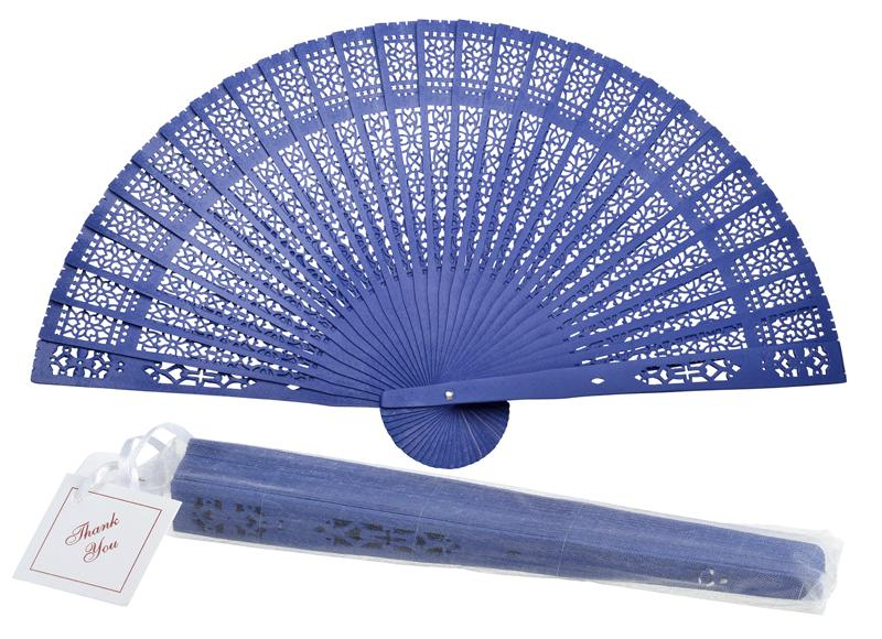 "8"" Dark Blue Wood Panel Hand Fan w/ Organza Bag for Weddings - AsianImportStore.com - B2B Wholesale Lighting and Decor"