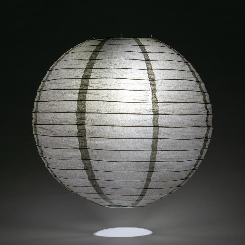 "8"" Driftwood Grey Round Paper Lantern, Even Ribbing, Hanging Decoration - AsianImportStore.com - B2B Wholesale Lighting and Decor"