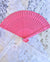 "8"" Fuchsia / Hot Pink Wood Panel Hand Fan w/ Organza Bag for Weddings - AsianImportStore.com - B2B Wholesale Lighting and Decor"
