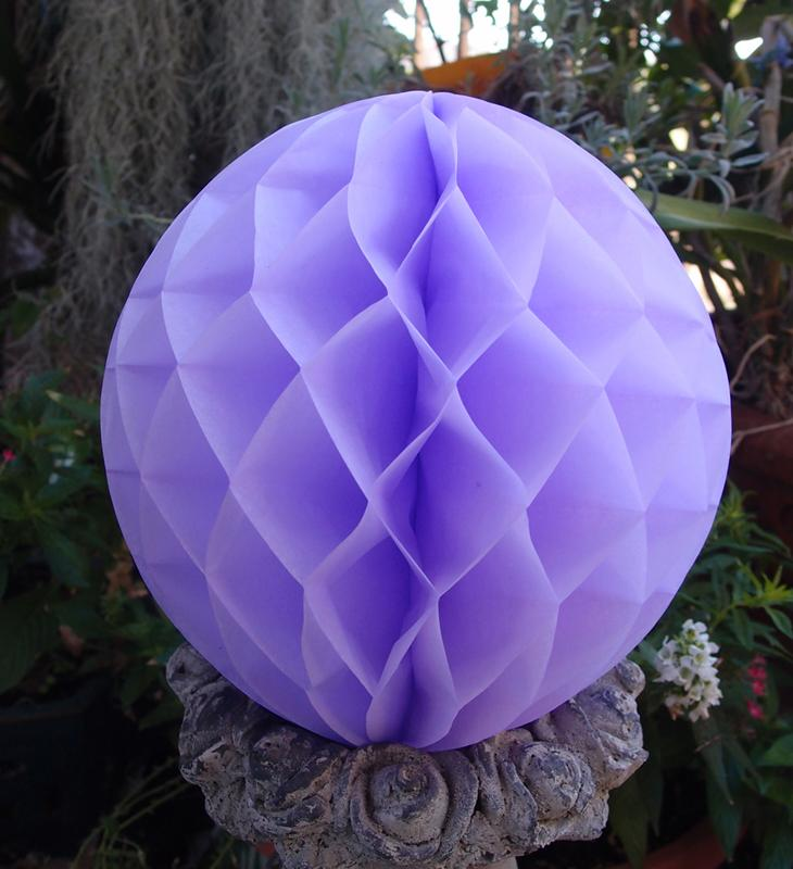"BLOWOUT 8"" Lavender Round Tissue Lantern, Honeycomb Ball, Hanging (3 PACK)"