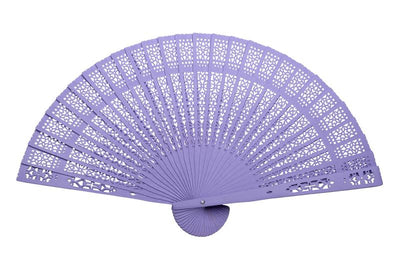 "BLOWOUT 8"" Lavender Wood Panel Hand Fan w/ Organza Bag for Weddings"