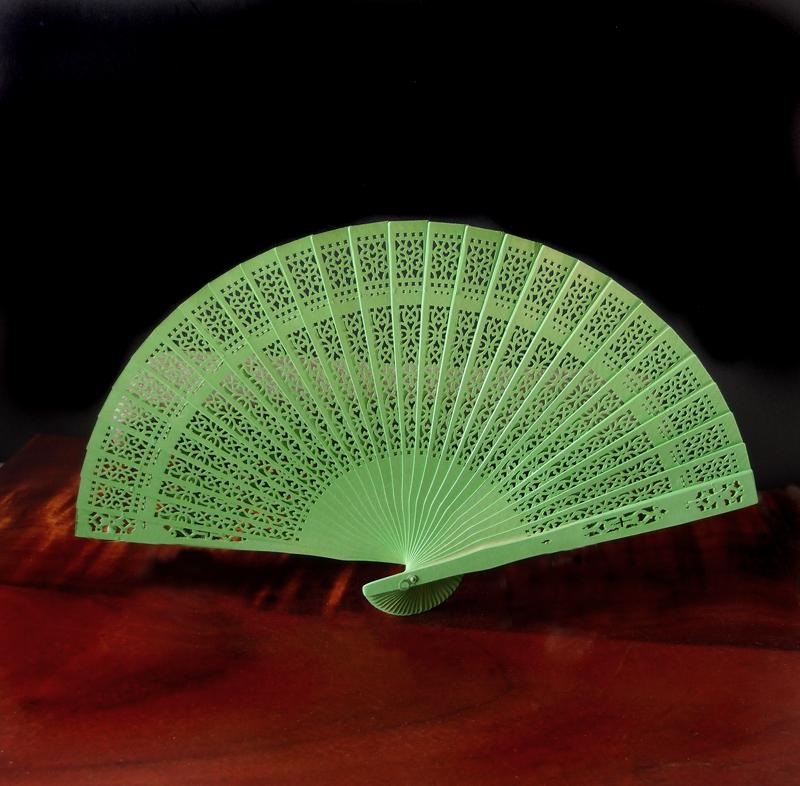 "BLOWOUT 8"" Light Lime Green Wood Panel Hand Fan w/ Organza Bag for Weddings"