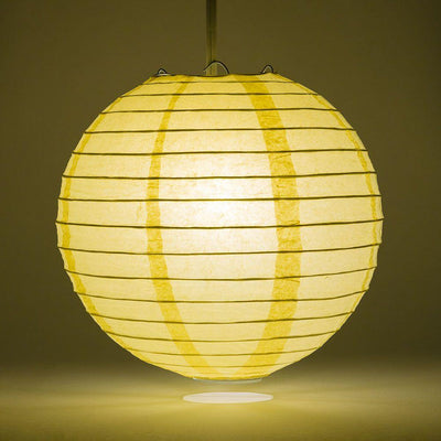 "20"" Lemon Yellow Chiffon Round Paper Lantern, Even Ribbing, Chinese Hanging Wedding & Party Decoration"