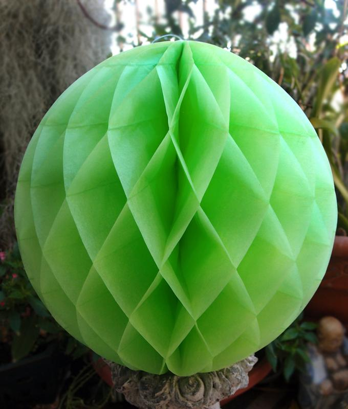 "BLOWOUT 8"" Light Lime Green Round Tissue Lantern, Honeycomb Ball, Hanging (3 PACK)"