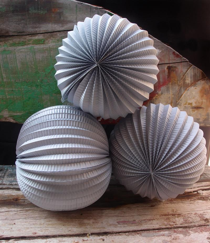 "BLOWOUT 8"" Silver Accordion Paper Lantern Balls - (3 PACK)"