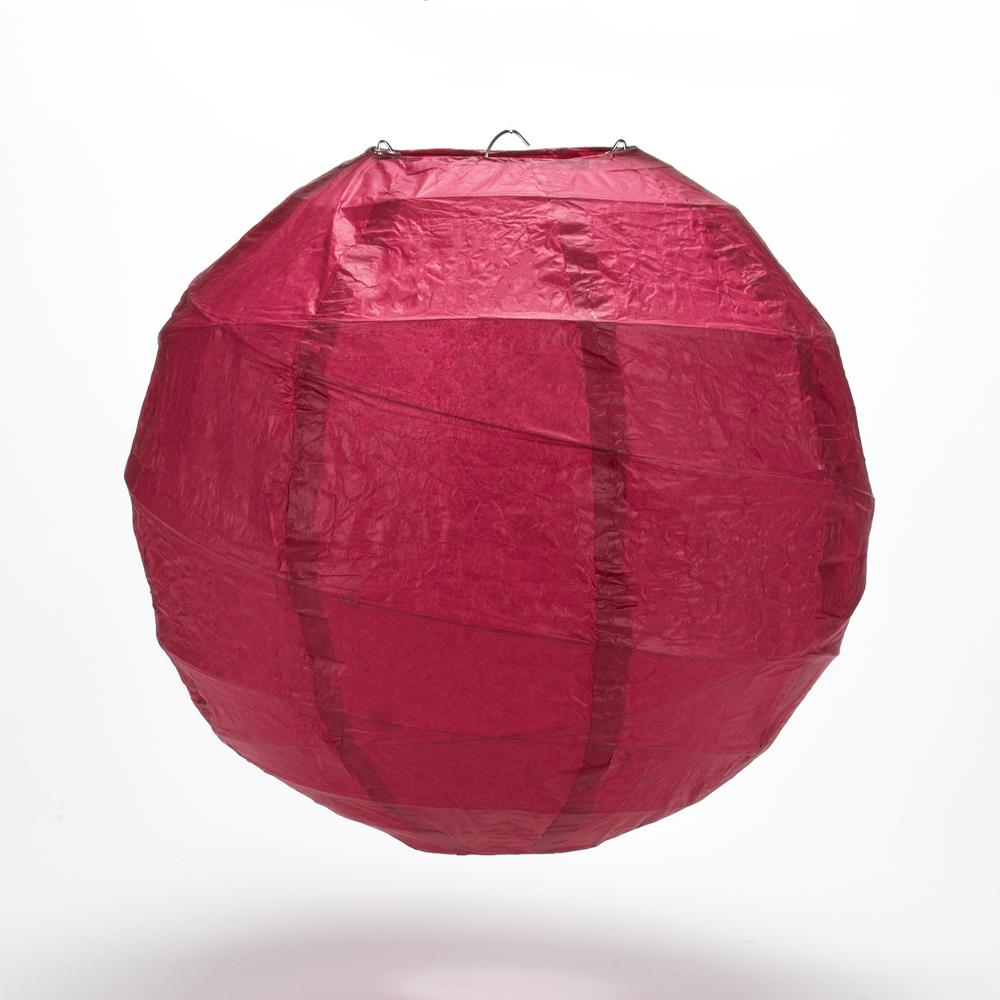 "8"" Velvet Red Round Paper Lantern, Crisscross Ribbing, Chinese Hanging Wedding & Party Decoration"