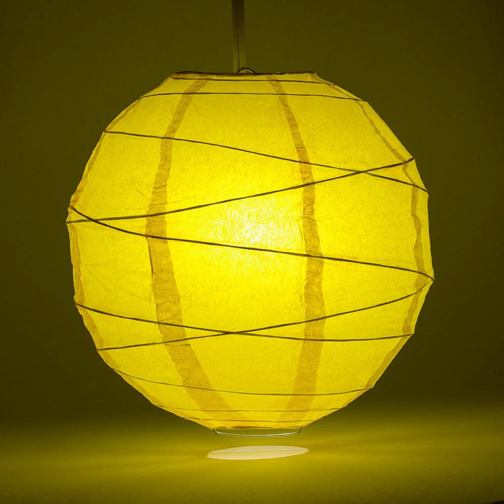 "8"" Yellow Round Paper Lantern, Crisscross Ribbing, Chinese Hanging Wedding & Party Decoration"