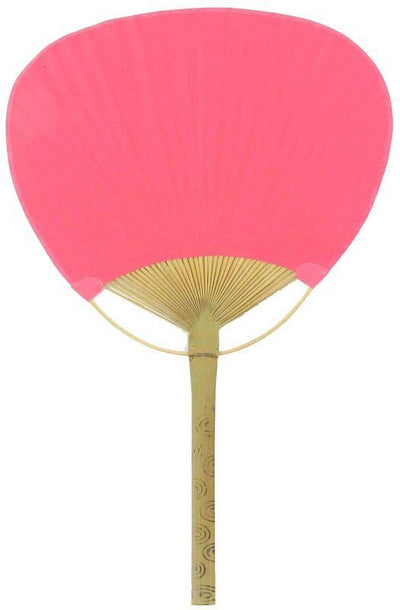 "9"" Fuchsia / Hot Pink Paddle Paper Hand Fans for Weddings (10 Pack)"