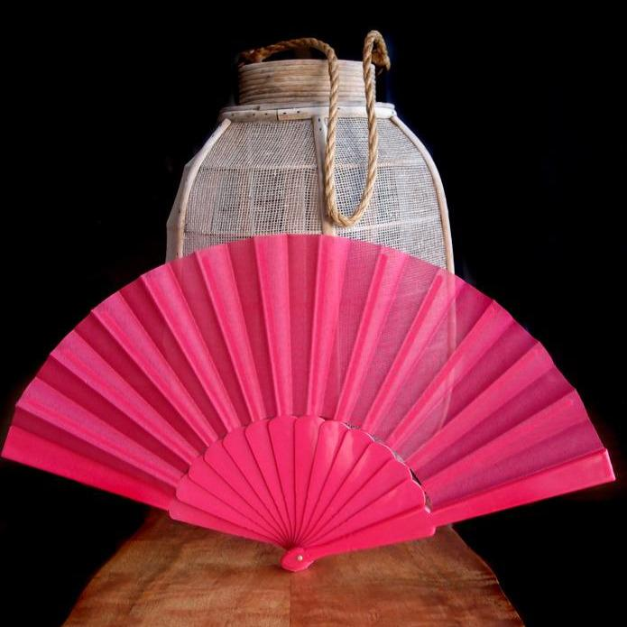 "9"" Fuchsia / Hot Pink Nylon Hand Fans for Weddings (10 Pack)"