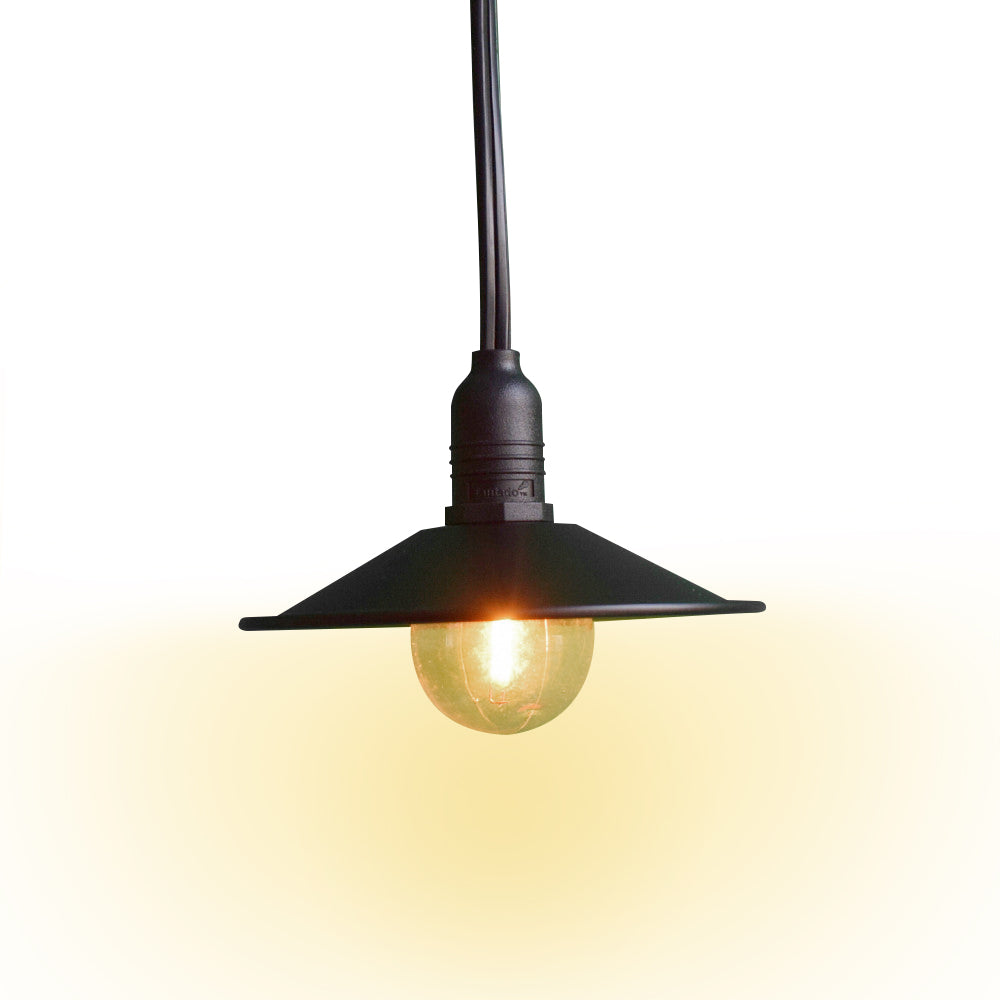 Classic Metal Patio Metal Light Bulb Shade for Outdoor Commercial String Lights, E12, Black