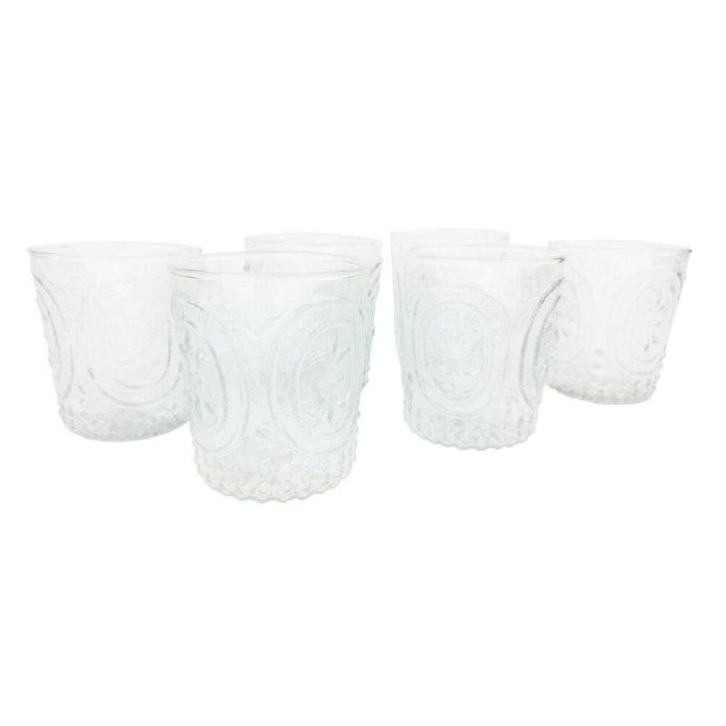 BLOWOUT 6 Pack | Small Fleur de Lys Juice/Wine Glass Drinkware (6 Piece Set, Clear, Holds Approx 3.5 oz)  - For Home Decor, Parties, and Wedding Decorations