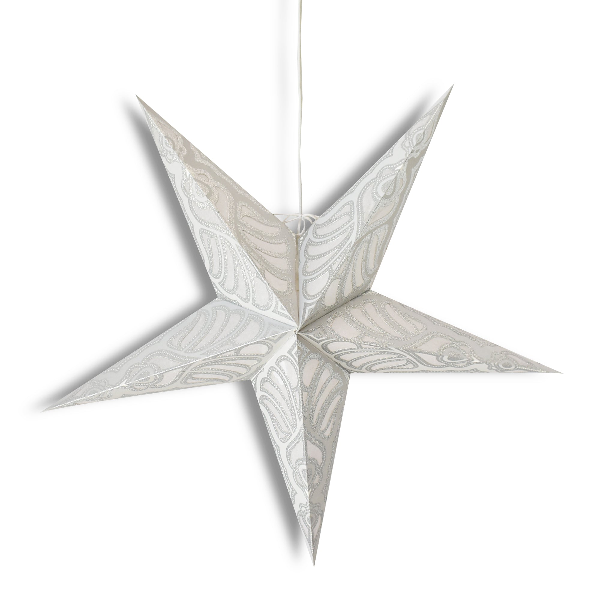 "24"" Silver Parrot Glitter Paper Star Lantern, Hanging Wedding & Party Decoration"