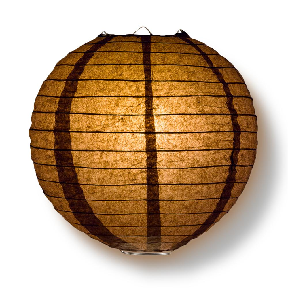 Decorative Paper Lantern - (Single, 18-Inch, Brown, Parallel Ribbing) Round Paper Lantern - Ideal Wedding and Party Decor Home Accent