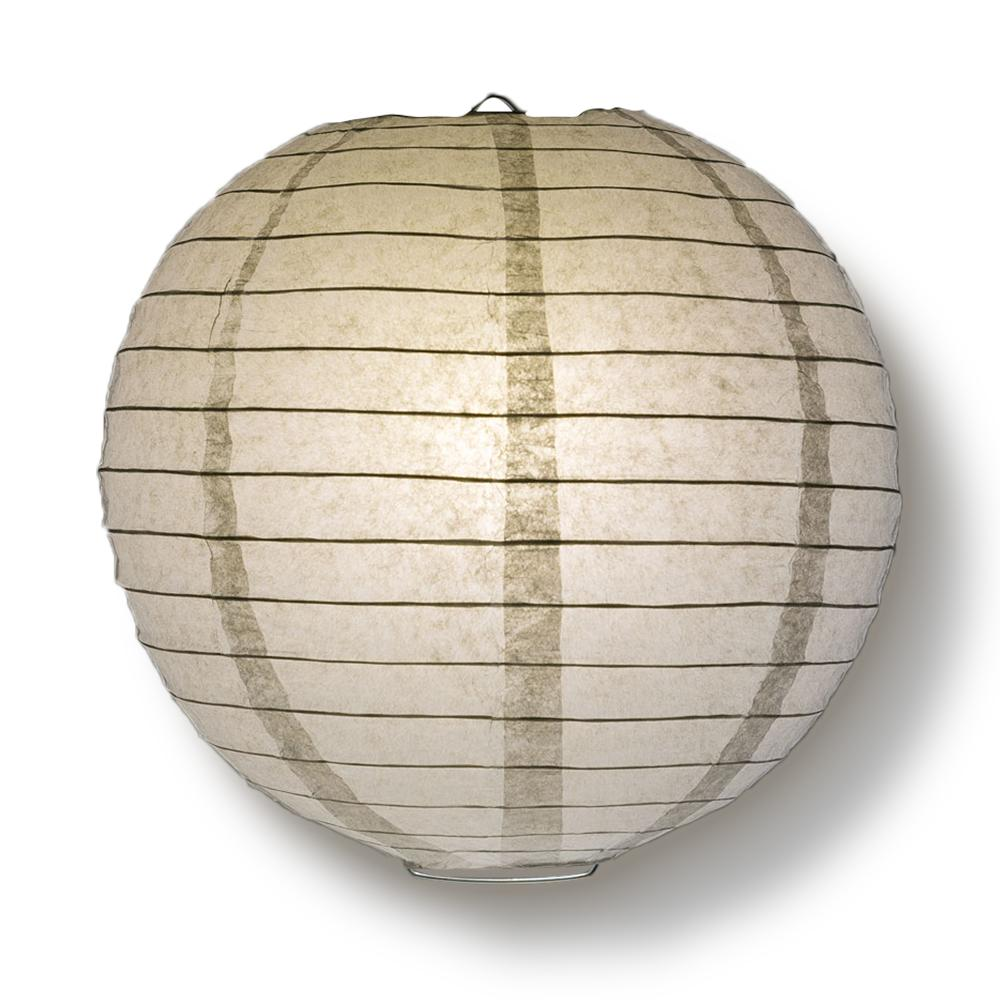 "4"" Gray / Grey Round Paper Lantern, Even Ribbing, Hanging Decoration (10 PACK)"
