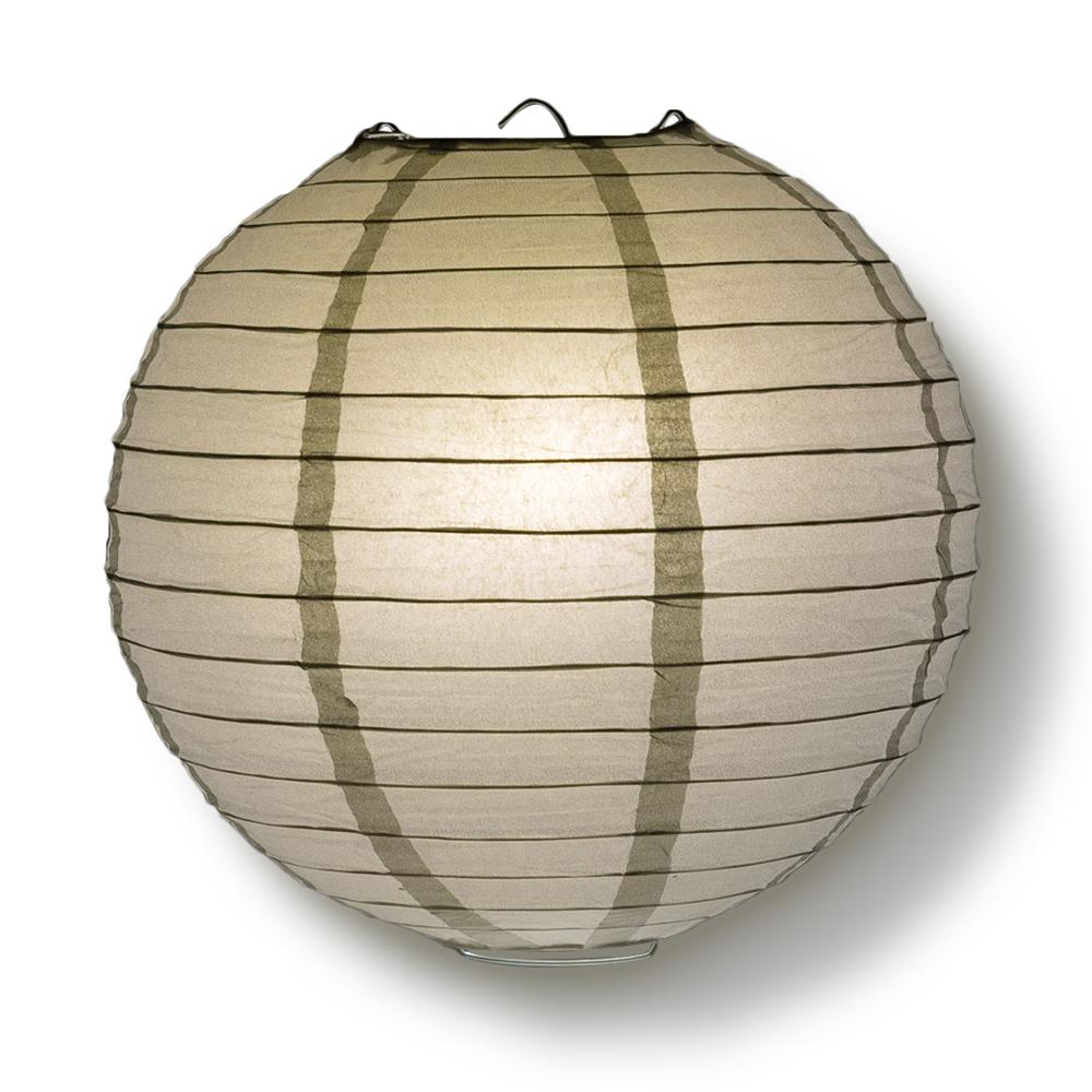 "4"" Silver Round Paper Lantern, Even Ribbing, Hanging Decoration (10 PACK)"