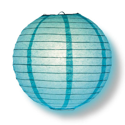 "4"" Water Blue Round Paper Lantern, Even Ribbing, Hanging Decoration (10 PACK)"