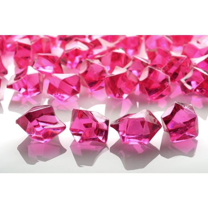 Fuchsia Gemstones Acrylic Crystal Wedding Table Scatter Confetti Vase Filler (3/4 lb Bag) (46 PACK) - AsianImportStore.com - B2B Wholesale Lighting and Décor