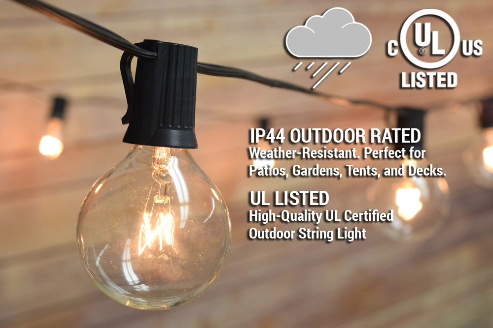 51 Ft | 50 Socket Black Outdoor Patio Bistro String Light Cord With Clear Globe Bulbs - E12 C7 Base, UL Listed