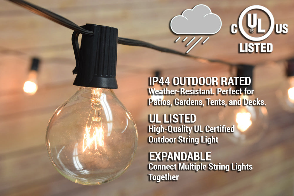 28 Ft | 25 Socket Outdoor Black Patio String Light Cord With Clear Globe Bulbs - E12 C7 Base, UL Listed