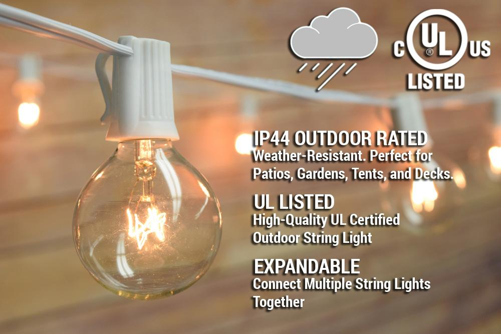 (Discontinued) 25 Socket Outdoor Patio String Light Set, G50 Clear Globe Bulbs, 28 FT White Cord w/ E17 Base