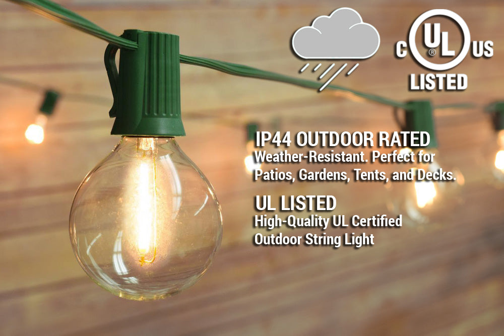 51 Ft | 50 Socket Green Outdoor Patio Bistro String Light Cord With Clear Globe Bulbs - E12 C7 Base, UL Listed