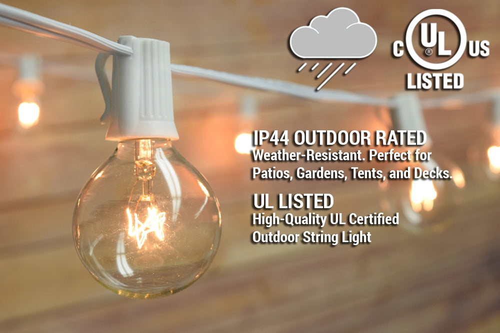 51 Ft | 50 Socket White Outdoor Patio Bistro String Light Cord With Clear Globe Bulbs - E12 C7 Base, UL Listed