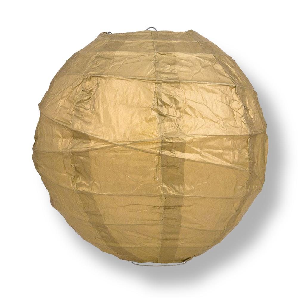 "12"" Gold Round Paper Lantern, Crisscross Ribbing, Chinese Hanging Wedding & Party Decoration"
