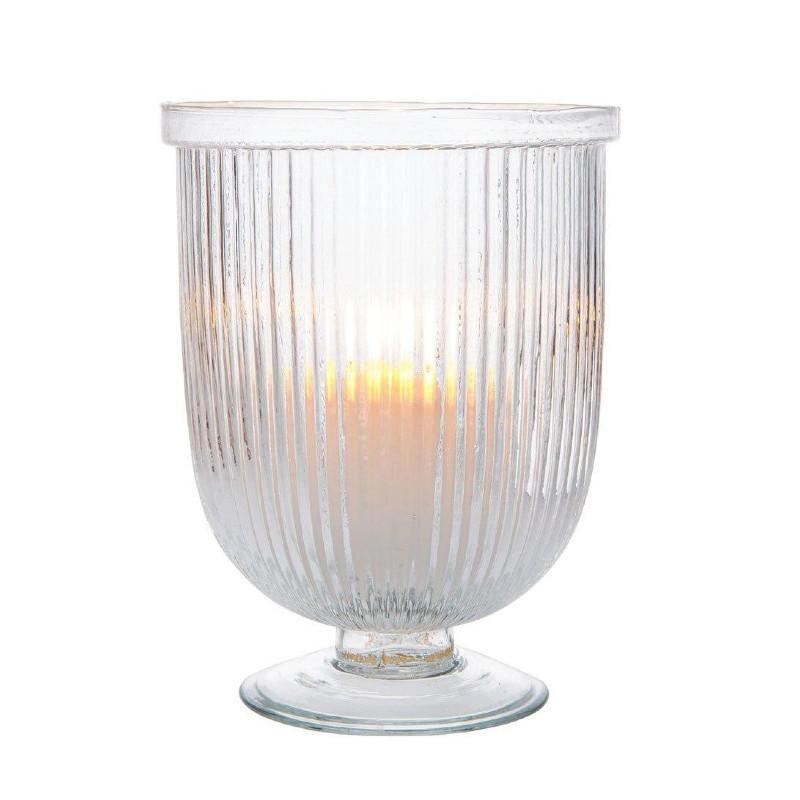 "9"" Large Fluted Clear Lynne Hurricane Candle Holder and Vase (20 PACK) - AsianImportStore.com - B2B Wholesale Lighting and Décor"