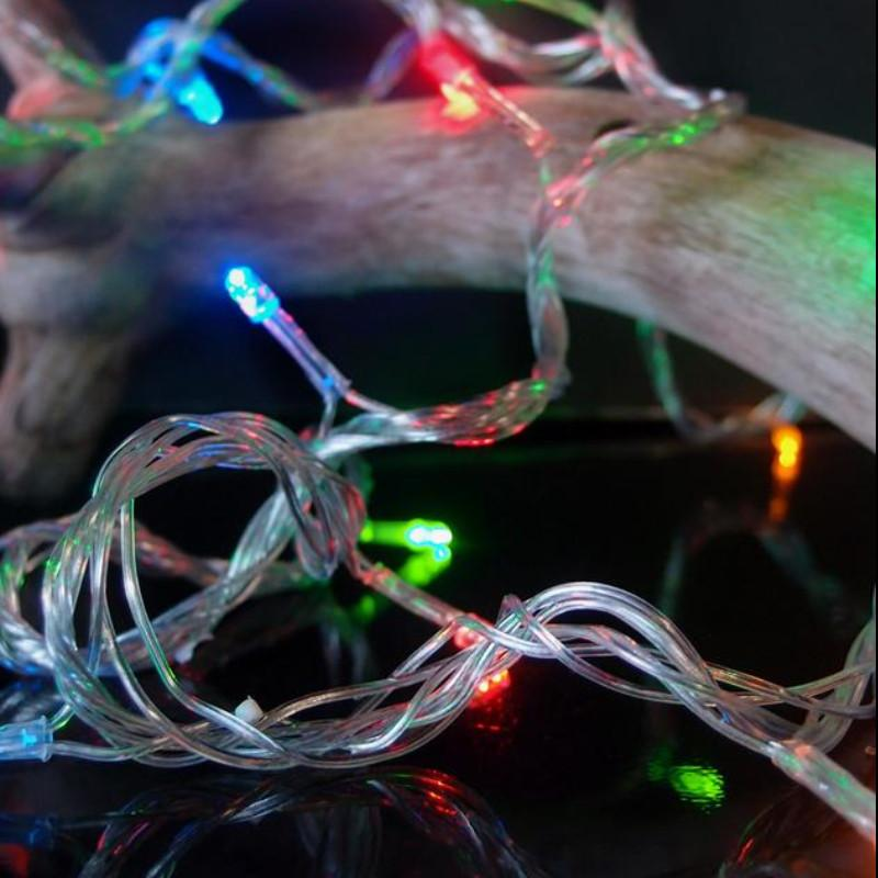 BLOWOUT 100 Indoor/Dry Outdoor Multicolor RGB LED Mini String Lights, 28FT Clear Cord, Multi-flicker Modes