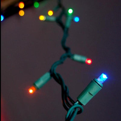 BLOWOUT 70 Outdoor RGB LED 5mm Polka Dot String Lights, 23.6 FT Green Cord, Weatherproof, Expandable