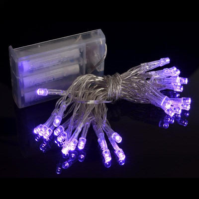 BLOWOUT 30 LED Purple Mini String Lights, 10.8 FT Clear Cord, Battery Operated Powered