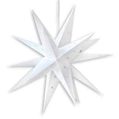 "24"" White Moravian Weatherproof Star Lantern Lamp, Multi-Point Hanging Decoration - AsianImportStore.com - B2B Wholesale Lighting and Decor"