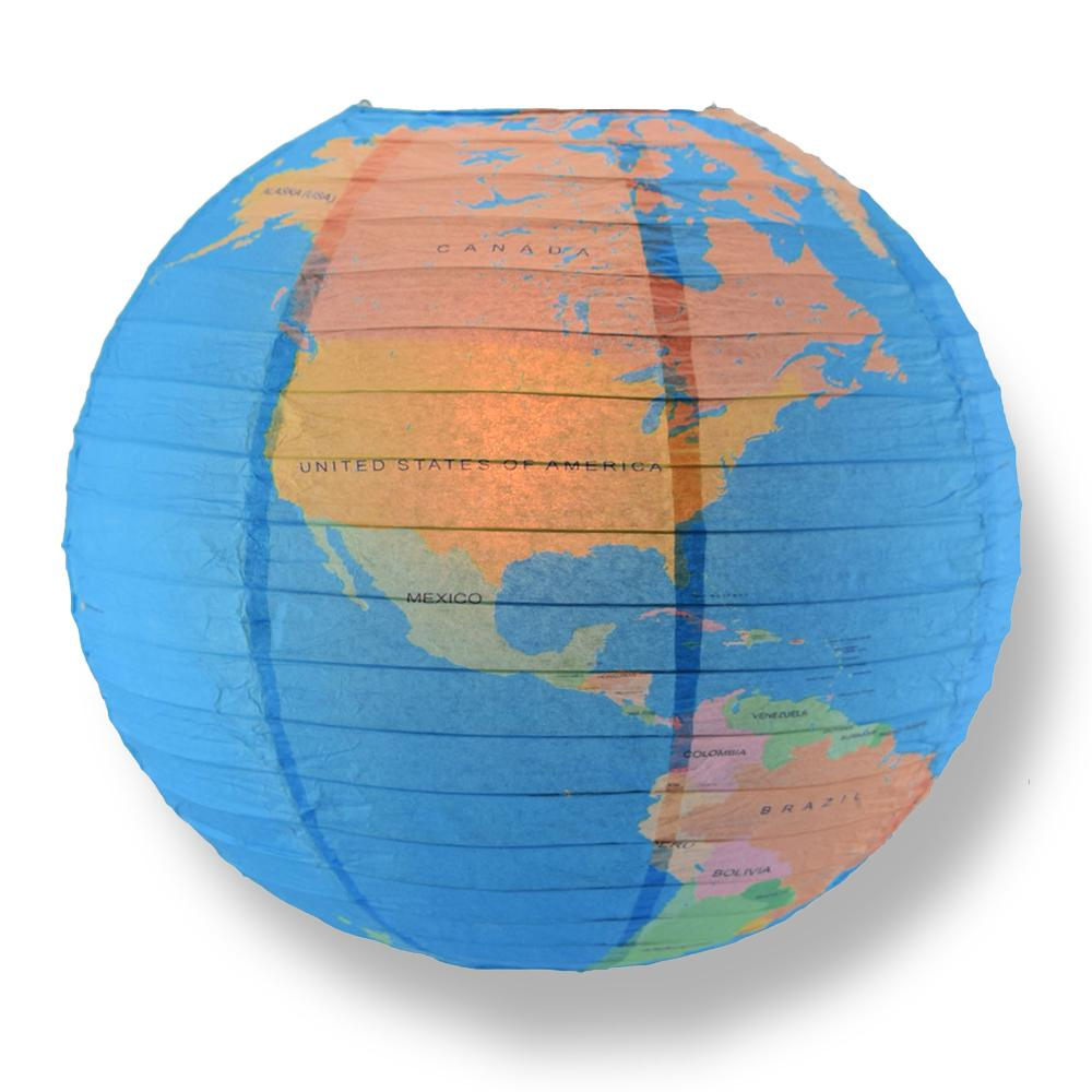 "14"" Geographical World Map Earth Globe Paper Lantern Hanging Classroom & Party Decoration - AsianImportStore.com - B2B Wholesale Lighting and Decor"