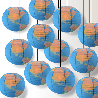 "14"" Geographical World Map Earth Globe Paper Lantern Hanging Classroom & Party Decoration"