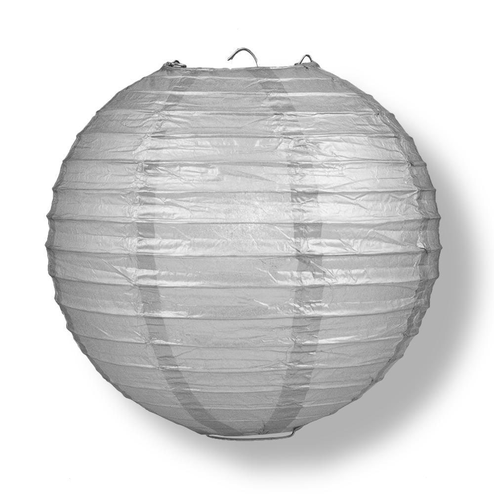 "20"" Silver Round Paper Lantern, Even Ribbing, Chinese Hanging Wedding & Party Decoration"