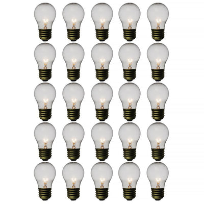 Clear 15-Watt Incandescent A15 Standard Replacement Light Bulbs, E26 Medium Base (25 PACK)