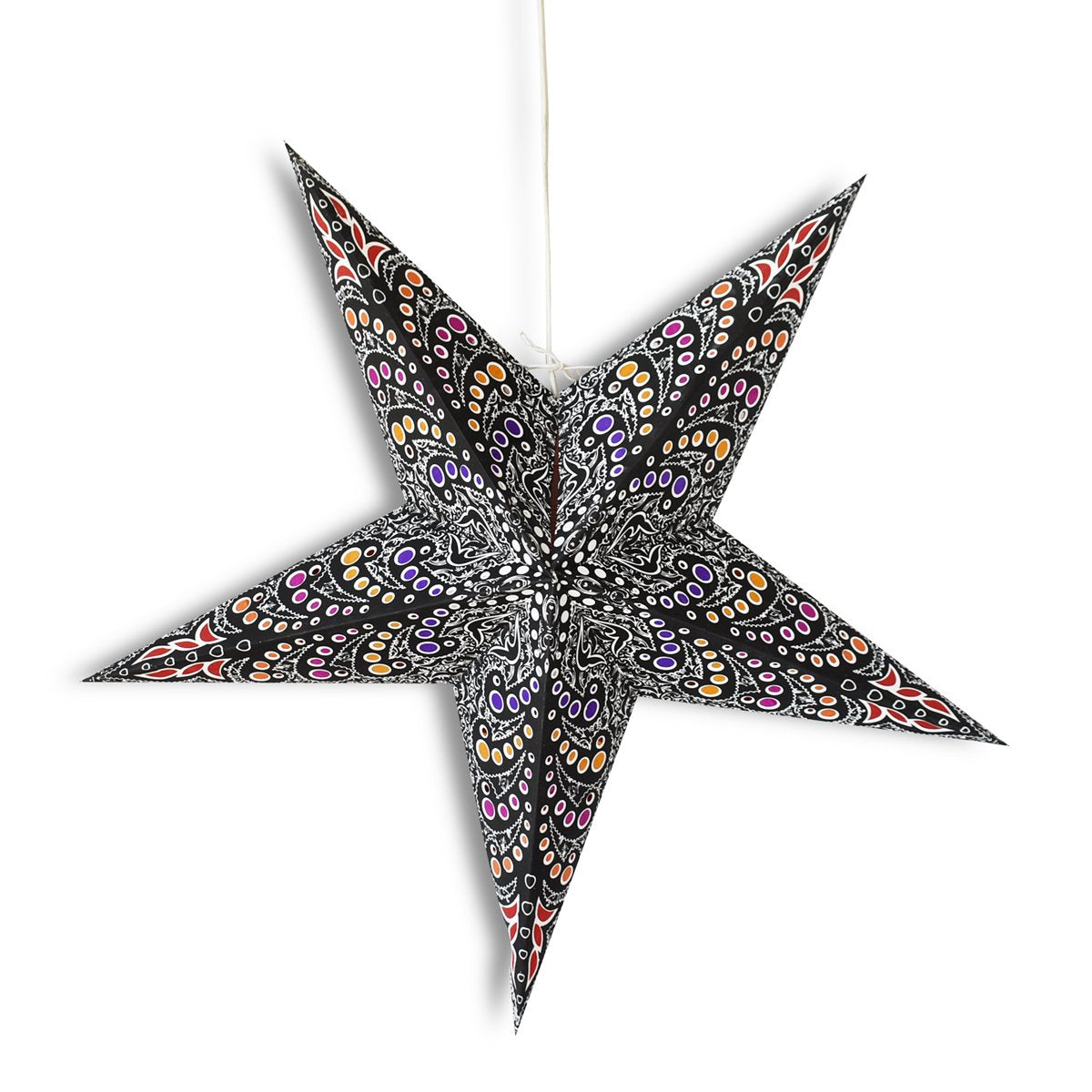 "24"" Black Aloha Paper Star Lantern, Hanging Wedding & Party Decoration"