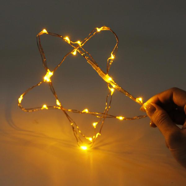 7.5 FT|20 LED Battery Operated Amber Fairy String Lights With Silver Wire