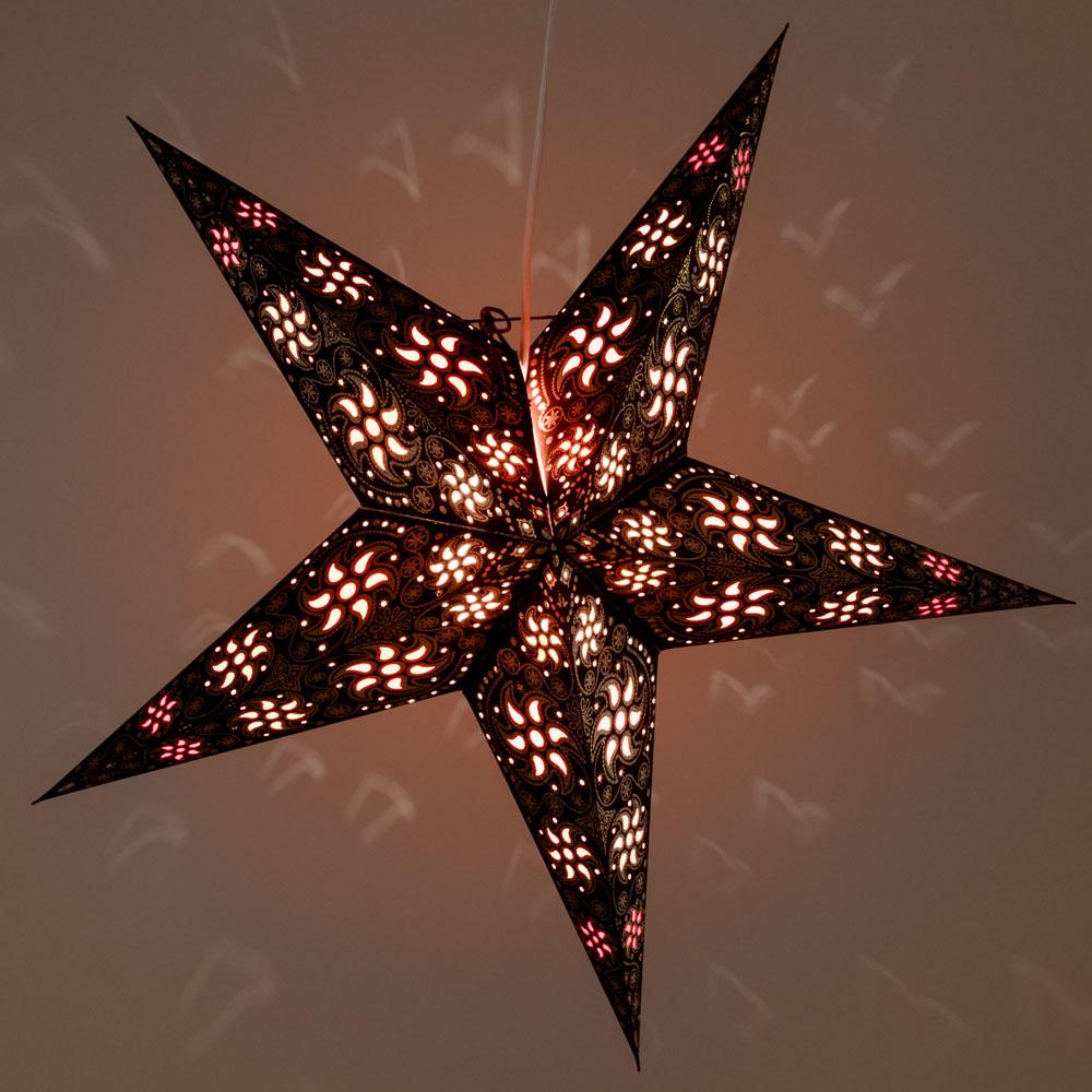 "24"" Black Winds Gold Glitter Paper Star Lantern, Hanging Decoration"