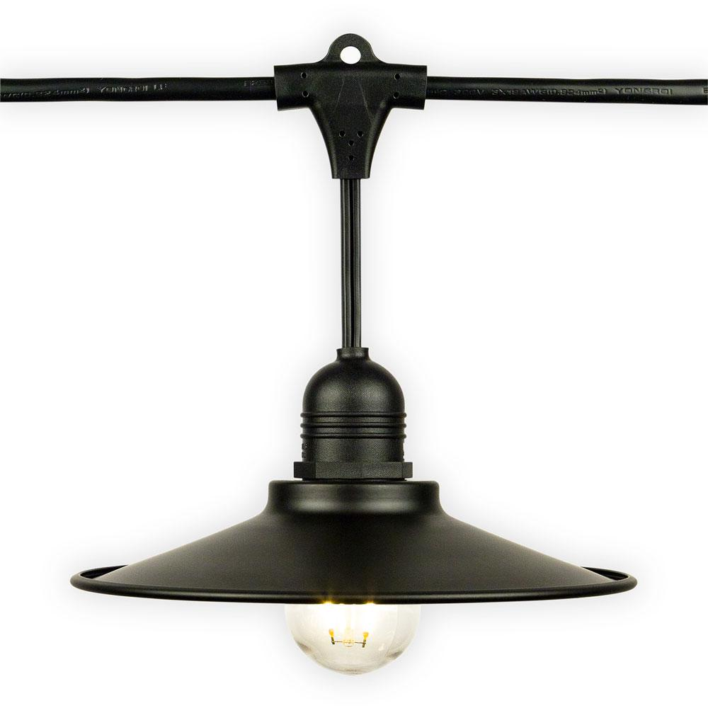 Classic Metal Patio Light Bulb Shade Cover for Outdoor Commercial String Lights, E26, Black