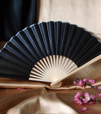 "9"" Black Silk Hand Fans for Weddings (10 Pack) - AsianImportStore.com - B2B Wholesale Lighting and Decor"