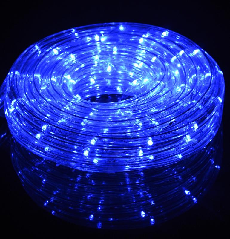 Blue Outdoor LED Fairy String Rope Light, 33 FT, Clear Tube, AC Plug-In - AsianImportStore.com - B2B Wholesale Lighting and Decor