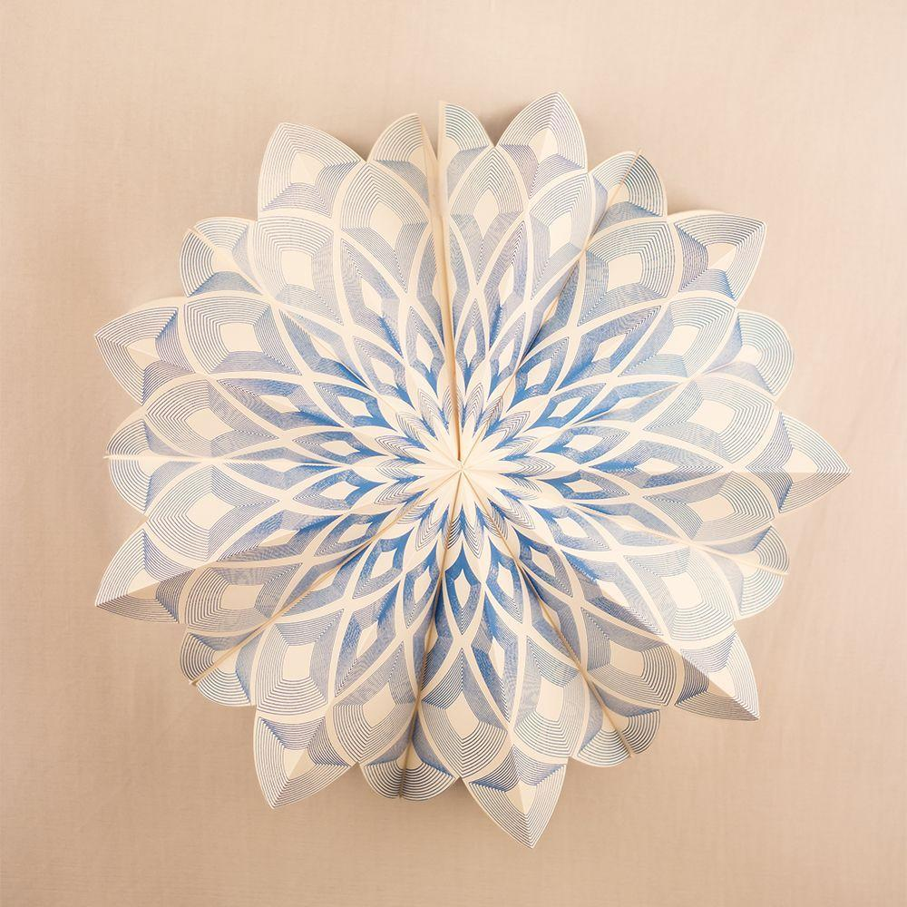 "BLOWOUT 17"" Blue Chronicles Premium Handcrafted Paper Flower Lantern Light Decoration"