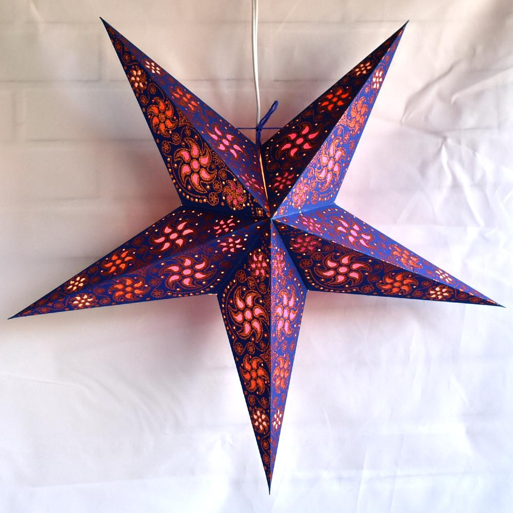 "24"" Blue / Copper Glitter Winds Paper Star Lantern, Hanging Decoration - AsianImportStore.com - B2B Wholesale Lighting and Decor"