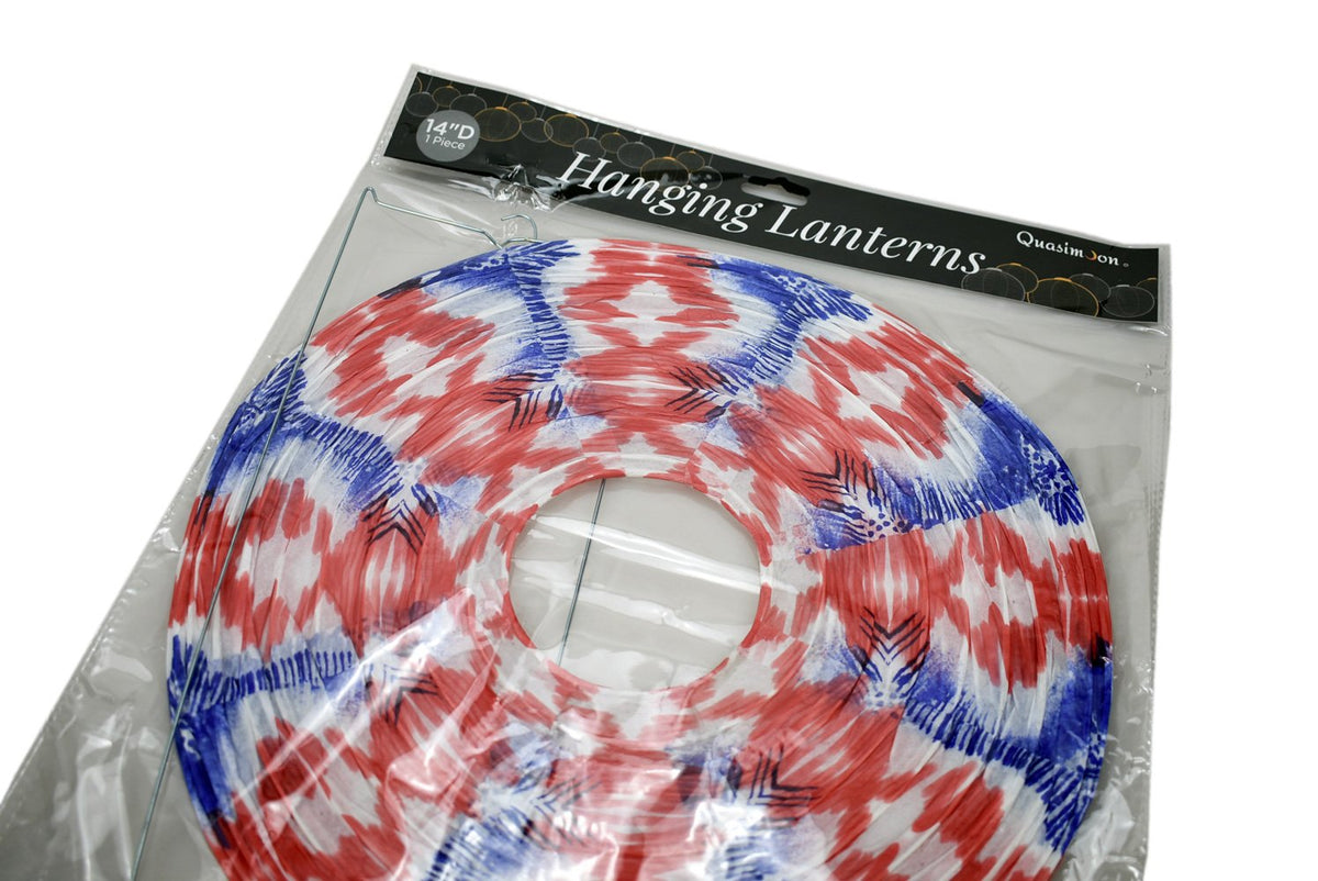 14 Inch Bohemian Painted Spirit Red, White, Blue Patterned Premium Paper Lantern