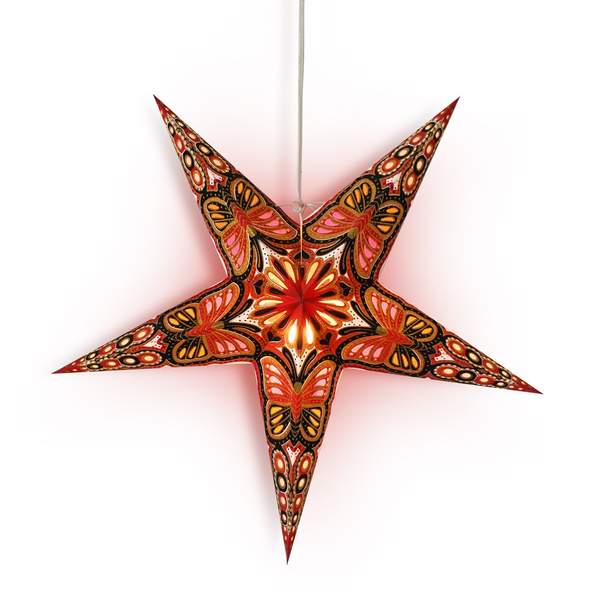 "24"" Red / Black Butterfly Glitter Paper Star Lantern, Hanging Wedding & Party Decoration"