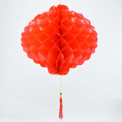 "12"" Red Chinese New Year Honeycomb Lantern Decoration, Plastic  (6-PACK) - AsianImportStore.com - B2B Wholesale Lighting and Decor"
